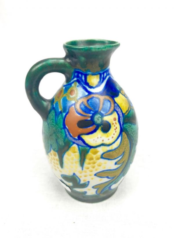 Gouda Pottery Jug / Vase / Art Deco Blue / Green / Yellow / Antique
